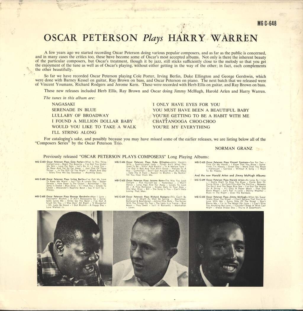 Oscar Peterson: Oscar Peterson Plays Harry Warren, LP (Vinyl)