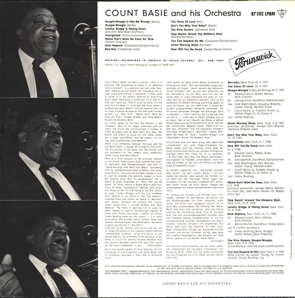Count Basie Orchestra: Count Basie And His Orchestra 1937-1939, LP (Vinyl)