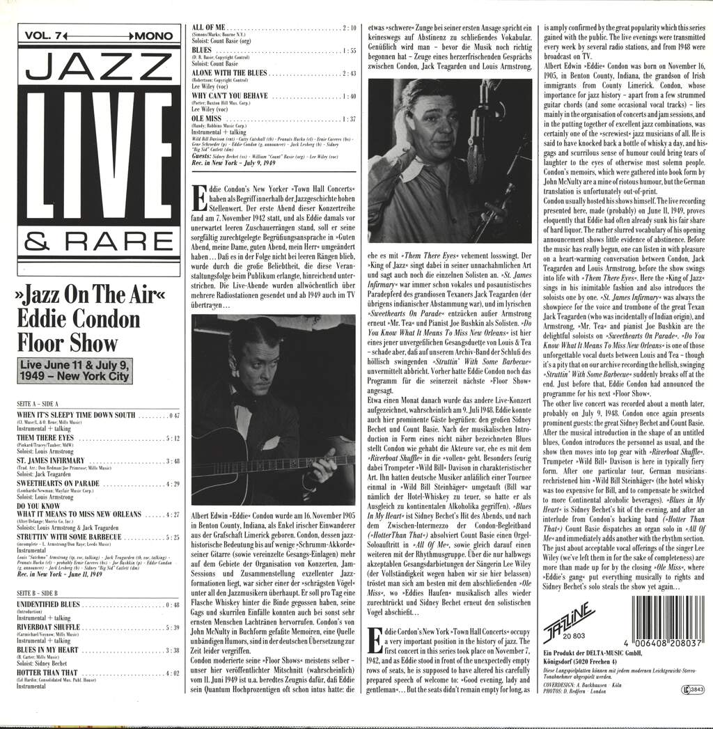 "Various: ""Jazz On The Air"" - Eddie Condon Floor Show Live June 11 & July 9, 1949 - New York City, LP (Vinyl)"