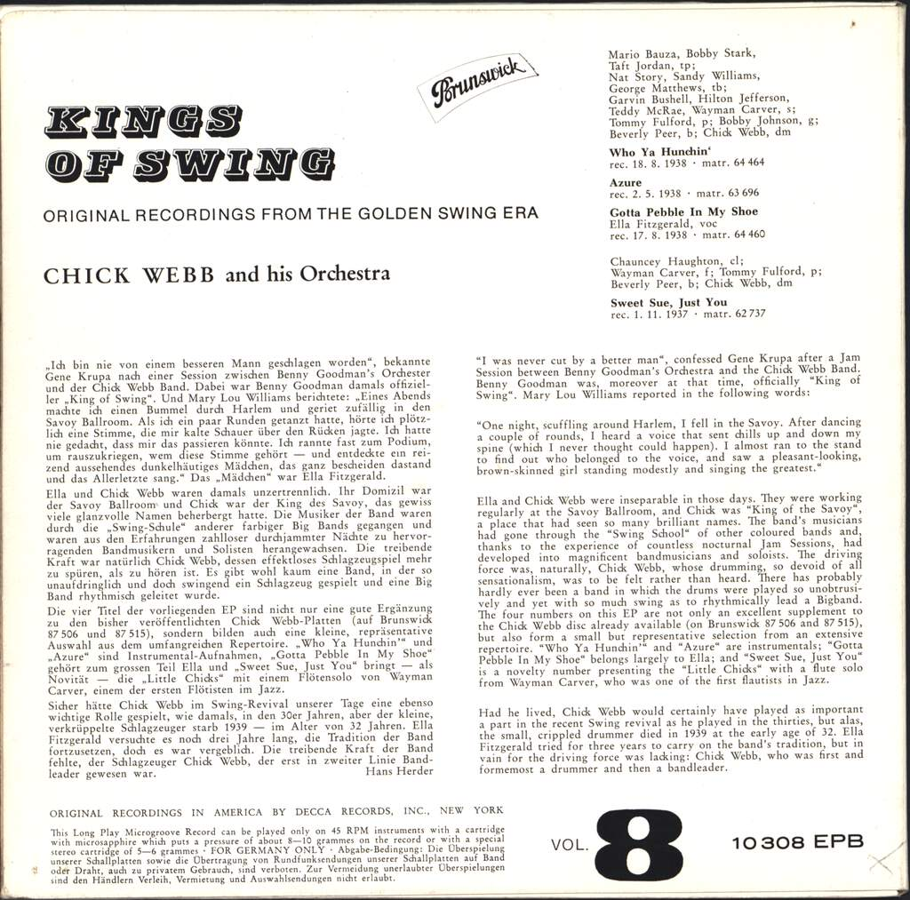 "Chick Webb And His Orchestra: Kings Of Swing Vol. 8, 7"" Single (Vinyl)"