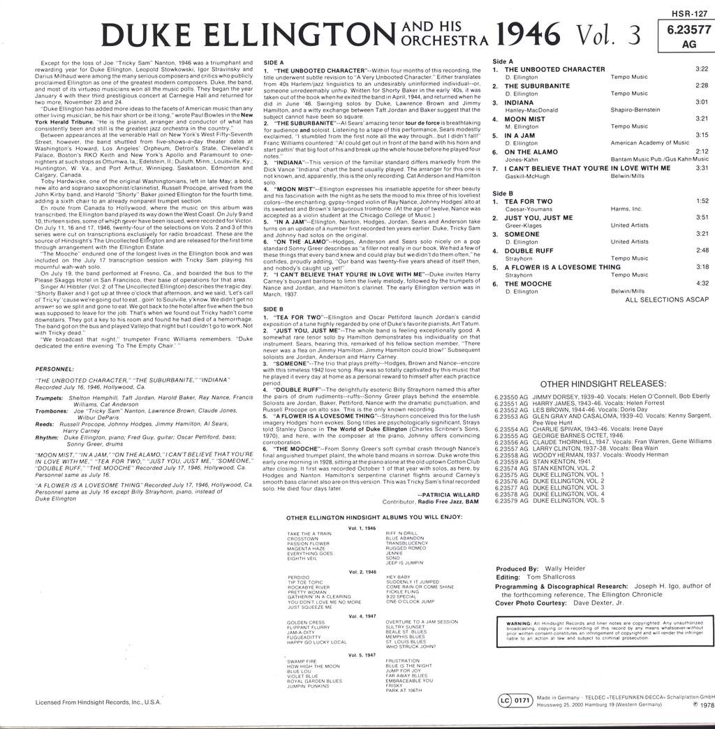 Duke Ellington And His Orchestra: The Uncollected Duke Ellington And His Orchestra Volume 3: 1946, LP (Vinyl)