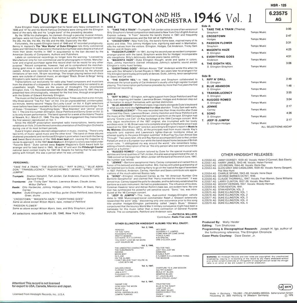 Duke Ellington And His Orchestra: The Uncollected Duke Ellington And His Orchestra Volume 1 - 1946, LP (Vinyl)