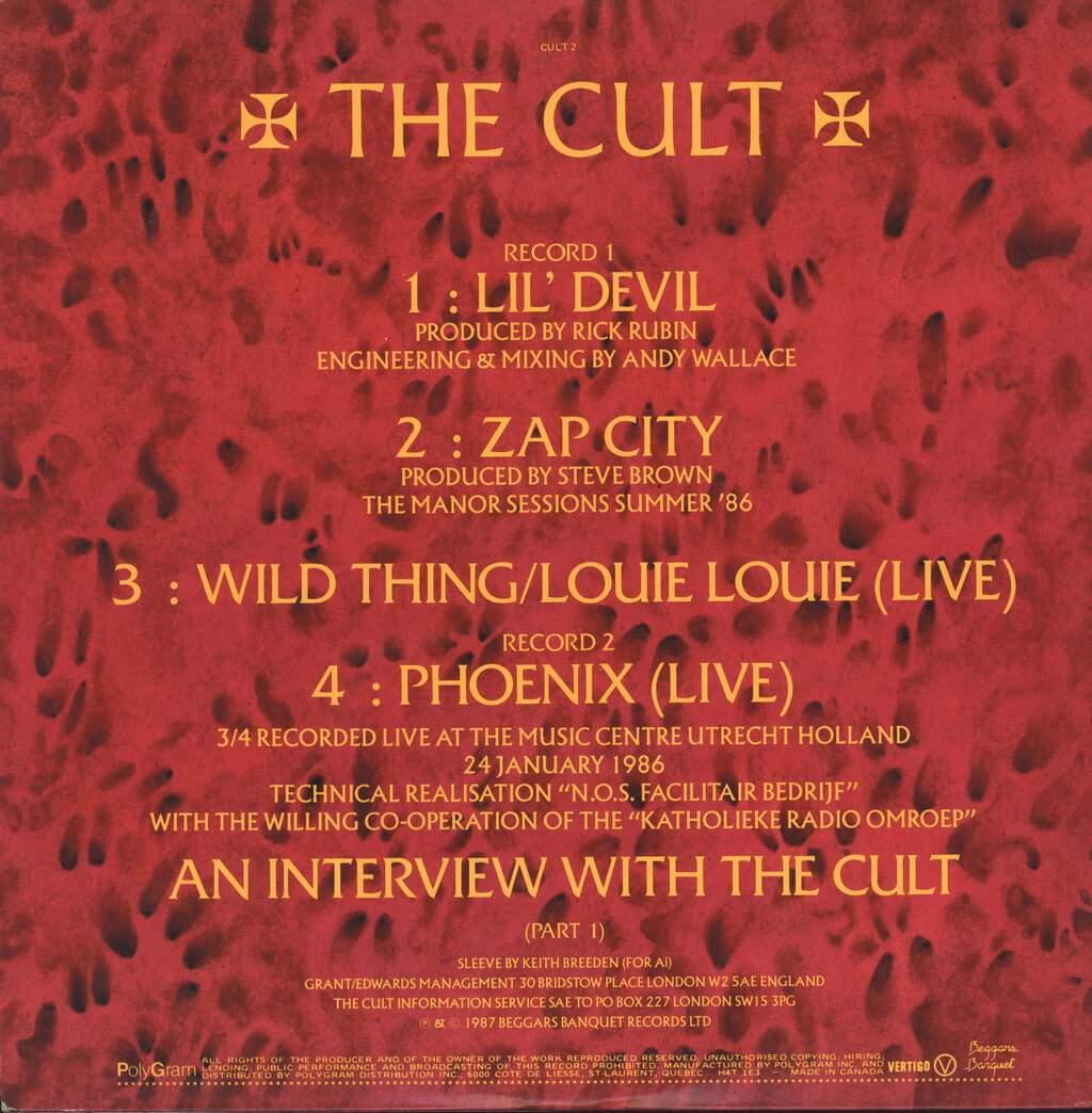 "The Cult: Lil' Devil, 12"" Maxi Single (Vinyl)"