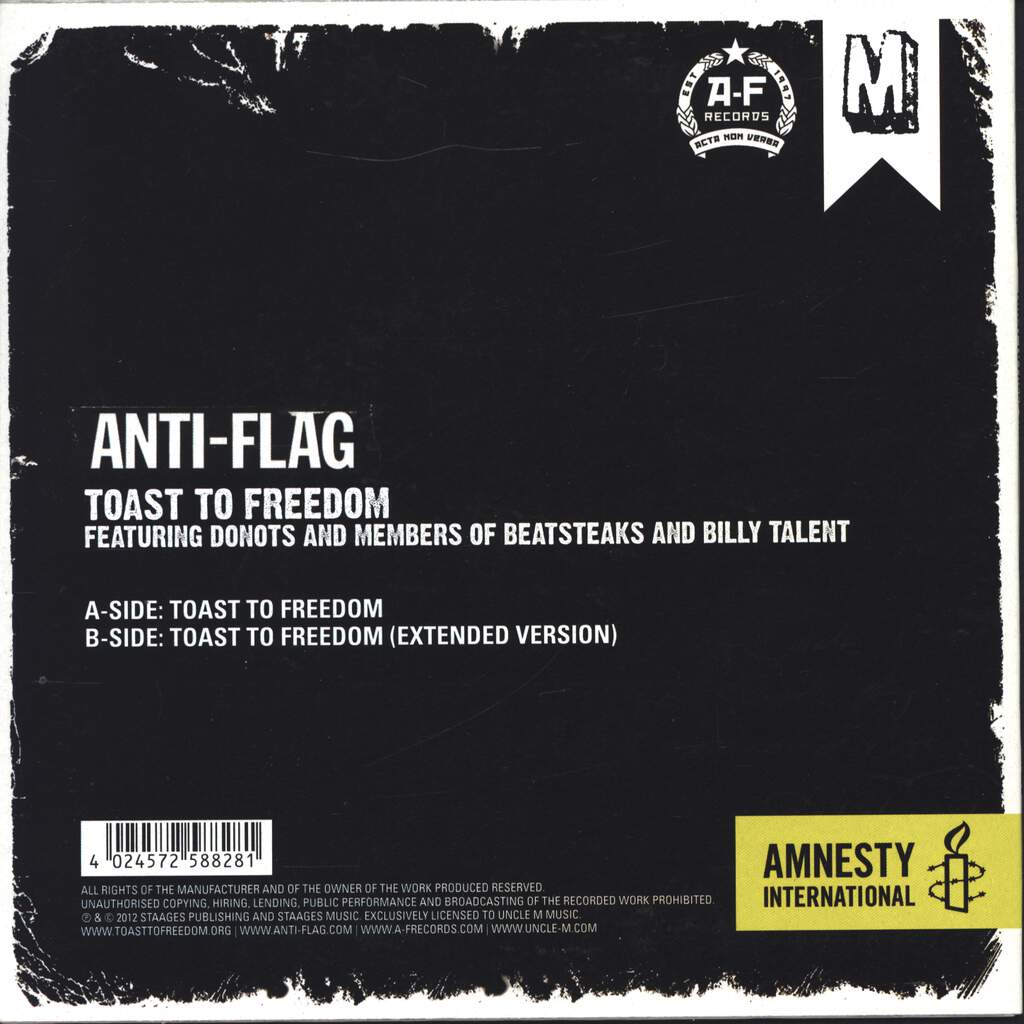 "Anti-Flag: Toast To Freedom, 7"" Single (Vinyl)"
