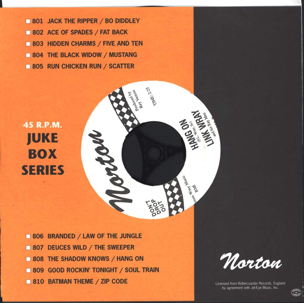 "Link Wray And His Ray Men: The Shadow Knows / Hang On, 7"" Single (Vinyl)"