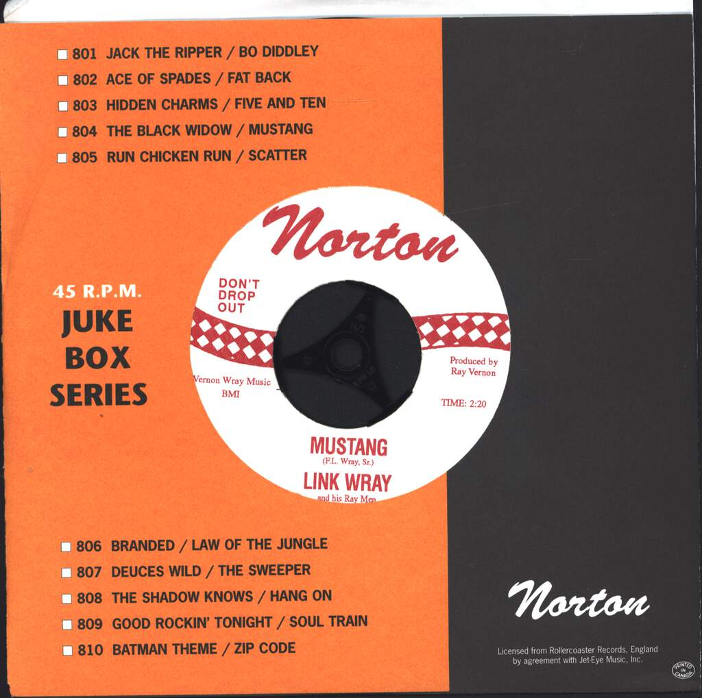 "Link Wray And His Ray Men: The Black Widow / Mustang, 7"" Single (Vinyl)"