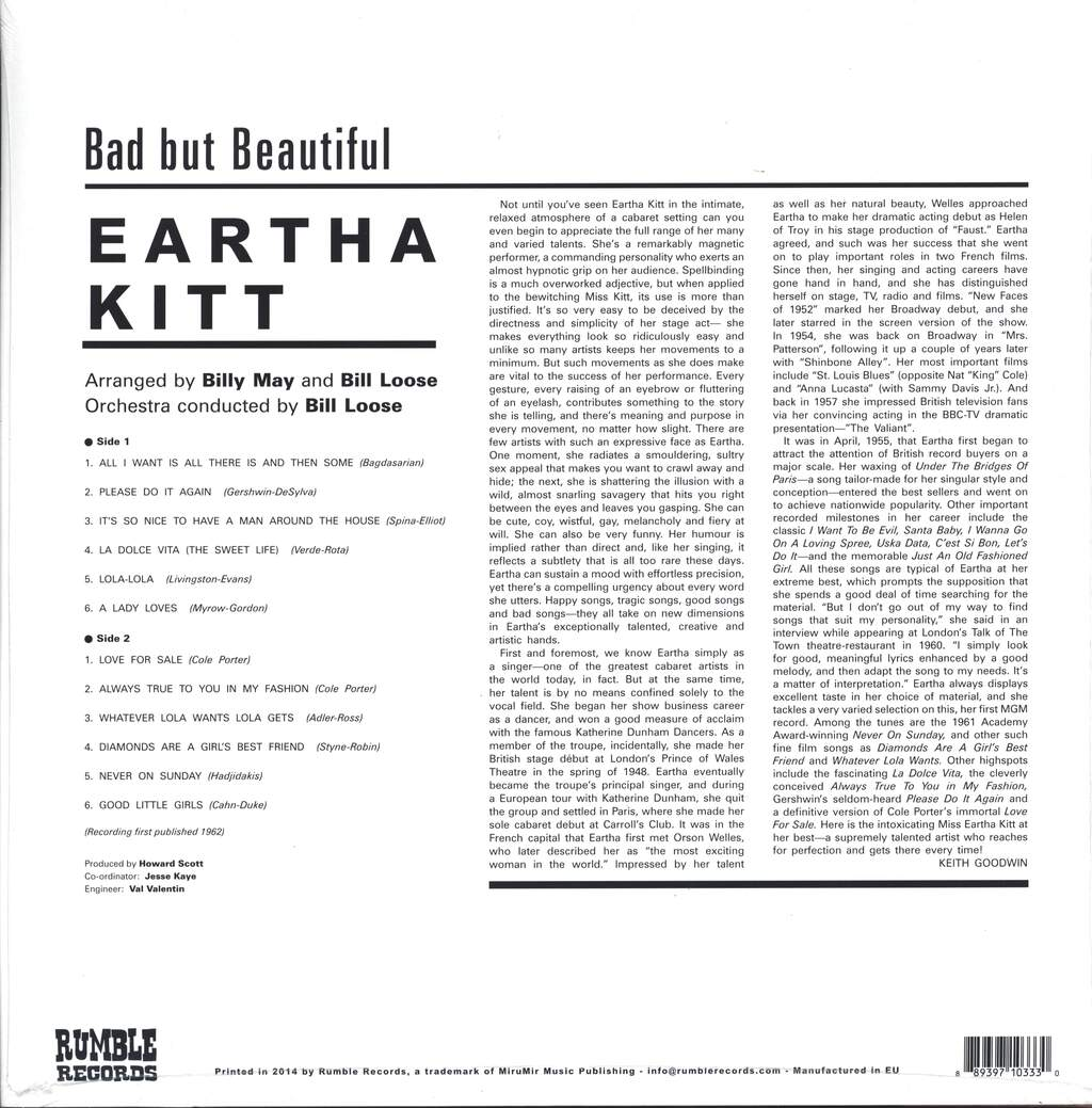Eartha Kitt: Bad But Beautiful, LP (Vinyl)