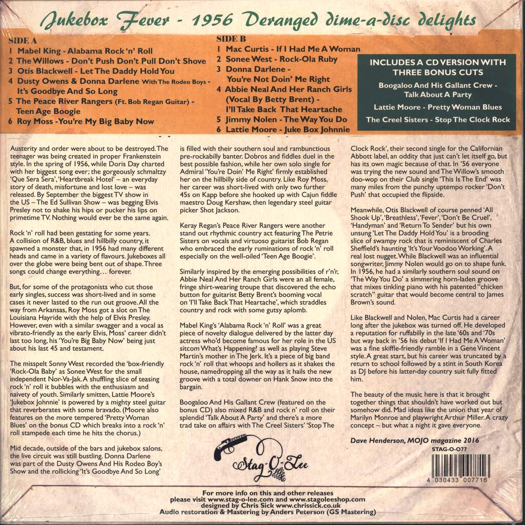 "Various: Jukebox Fever Volume 1: 1956, 10"" Vinyl EP"