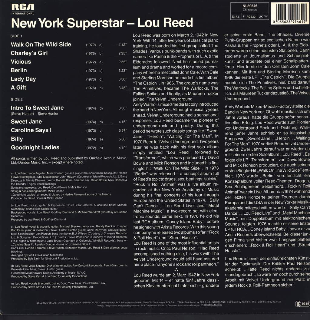 Lou Reed: New York Superstar, LP (Vinyl)