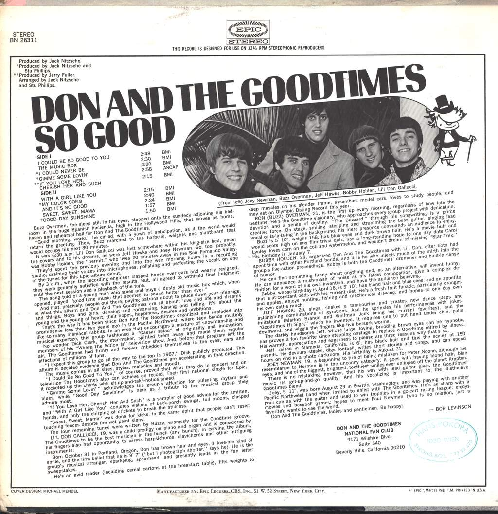 Don & The Goodtimes: So Good, LP (Vinyl)