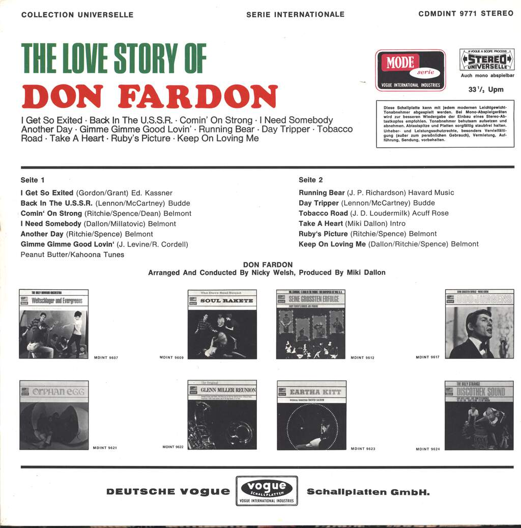 Don Fardon: The Love Story Of Don Fardon, LP (Vinyl)