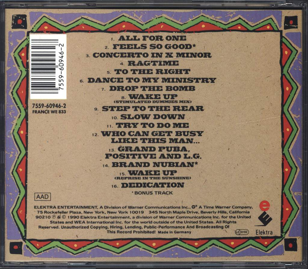 Brand Nubian: One For All, CD