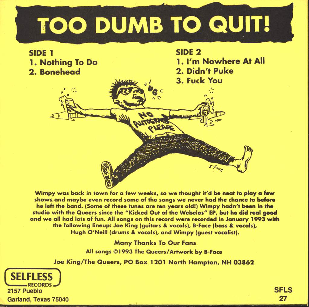"The Queers: Too Dumb To Quit!, 7"" Single (Vinyl)"