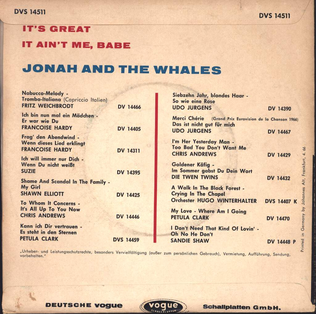 "Jonah & The Whales: It's Great, 7"" Single (Vinyl)"