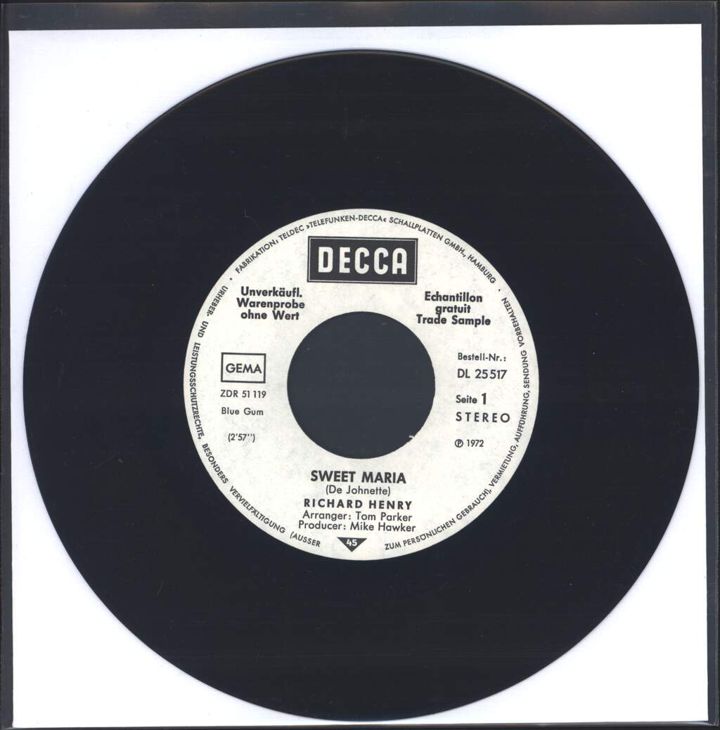 "Richard Henry: Sweet Maria, 7"" Single (Vinyl)"