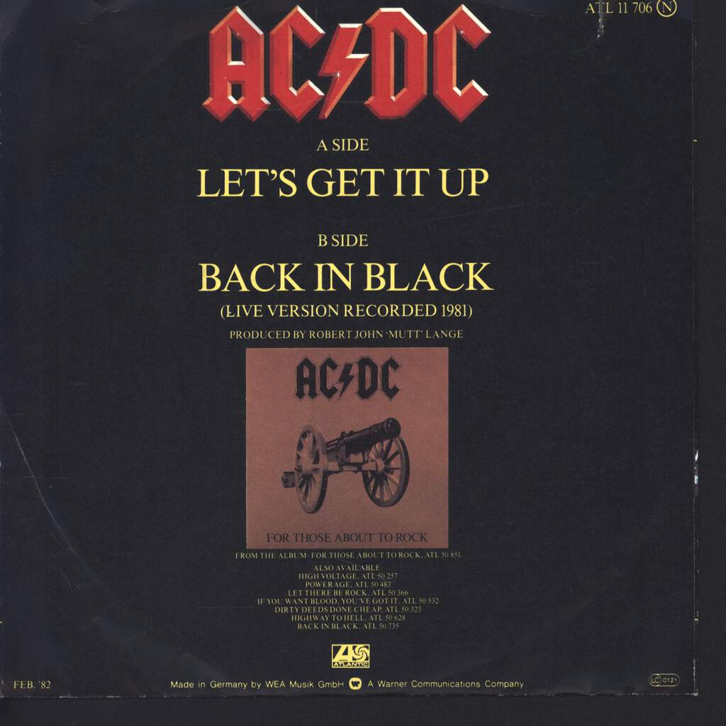 "AC/DC: Let's Get It Up / Back In Black (Recorded Live 1981), 7"" Single (Vinyl)"