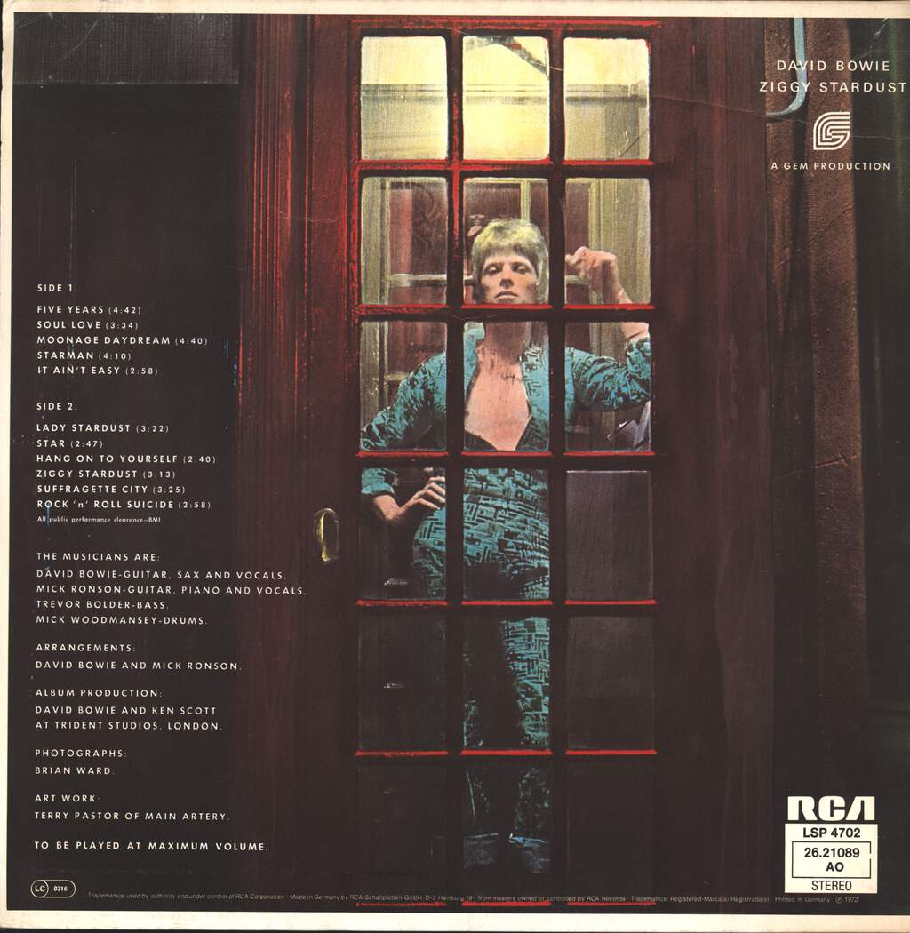 David Bowie: The Rise And Fall Of Ziggy Stardust And The Spiders From Mars, LP (Vinyl)