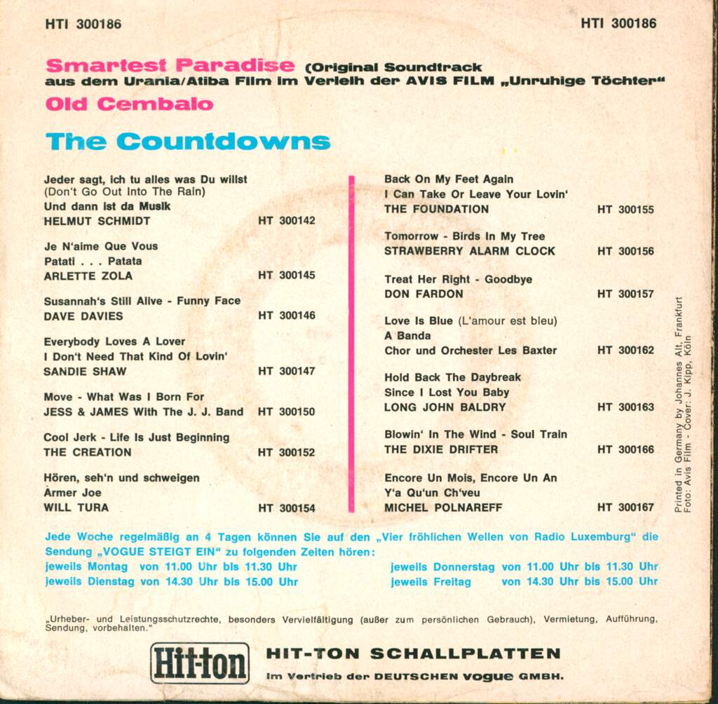 "The Countdowns: Smartest Paradise, 7"" Single (Vinyl)"