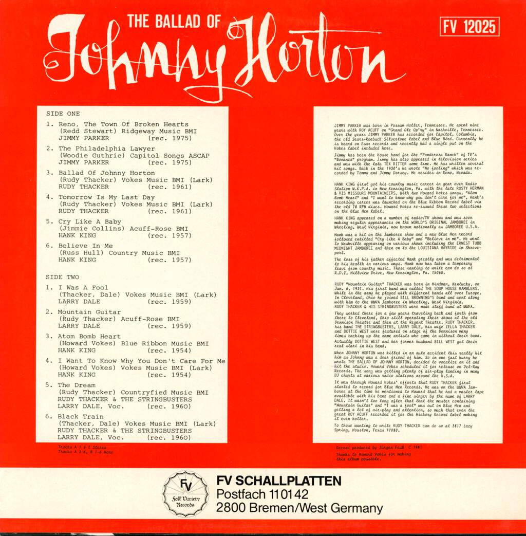 Various: Johnny Horton - A Country and Rockabilly Collection by Jimmy Parker, Rudy Thacker, Hank King & Larry Dale, LP (Vinyl)