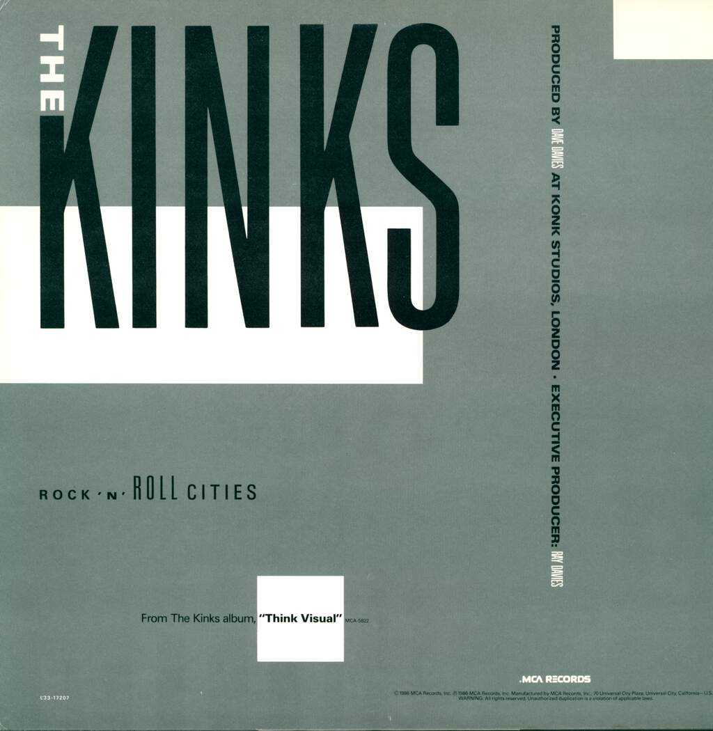 "The Kinks: Rock 'N' Roll Cities, 12"" Maxi Single (Vinyl)"