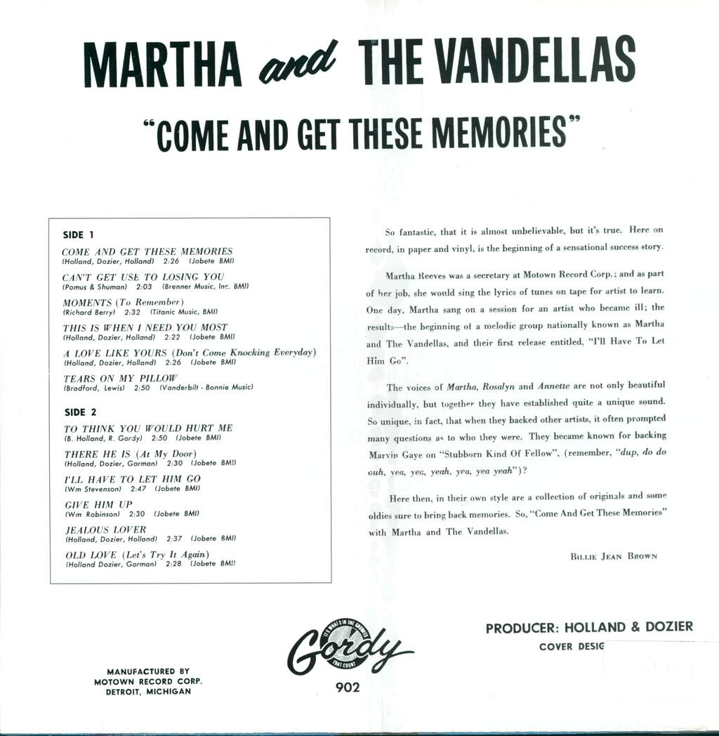Martha Reeves & The Vandellas: Come And Get These Memories