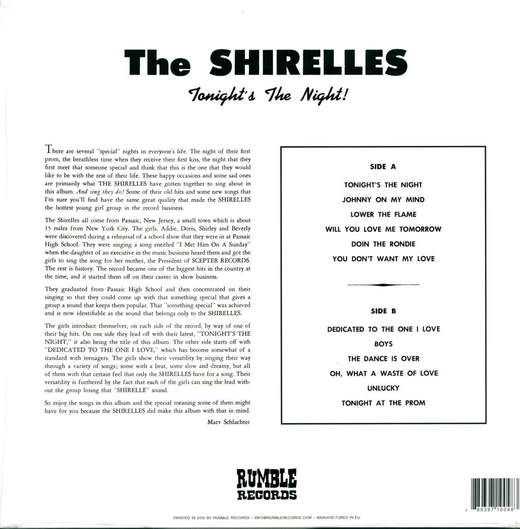 The Shirelles: Tonight's The Night, LP (Vinyl)