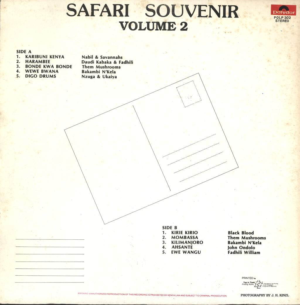 Various: Safari Souvenir Volume 2 - Greatest Hits Of East Africa - Hits Aus Ost Afrika, LP (Vinyl)