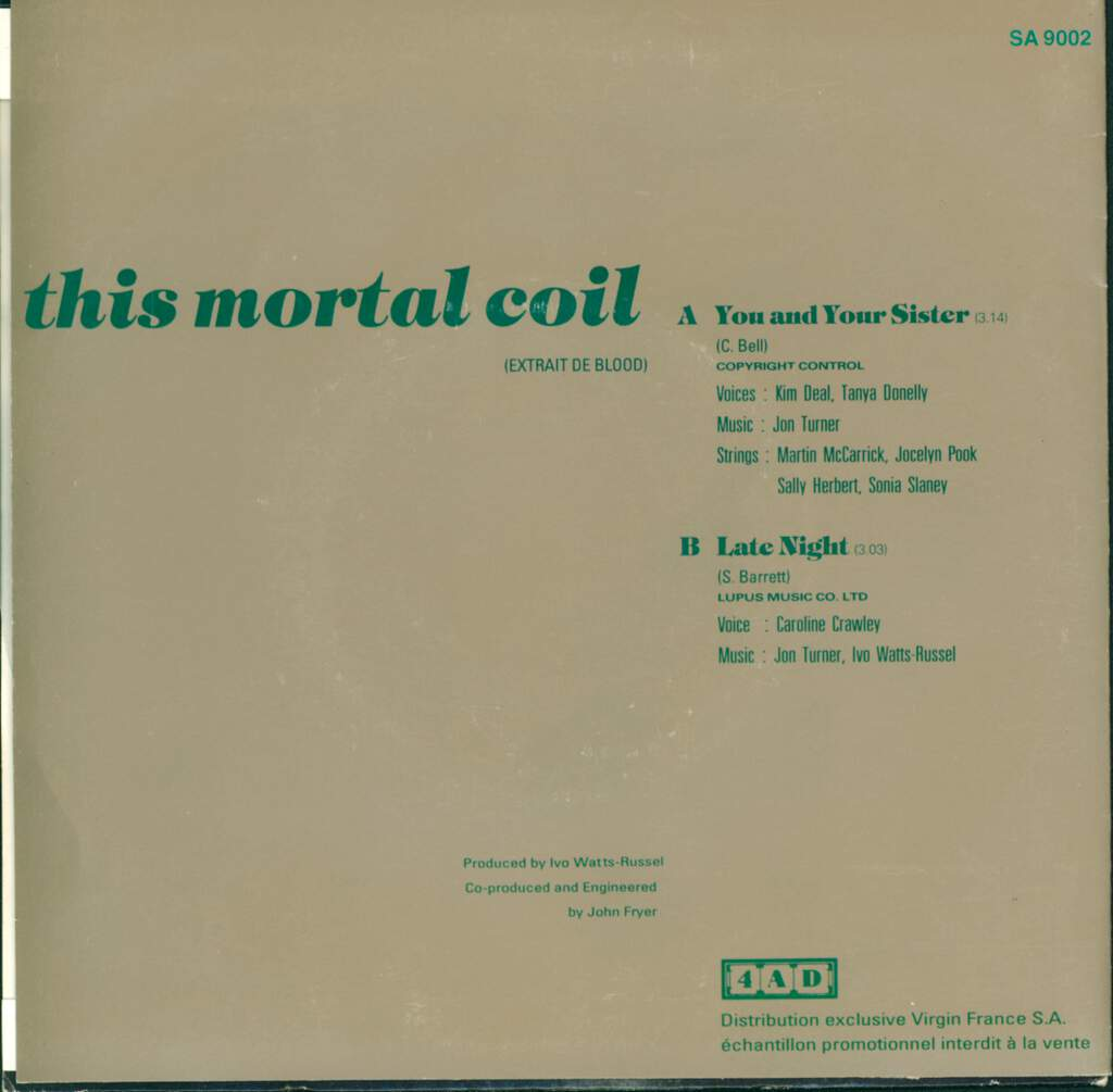 "This Mortal Coil: You And Your Sister, 7"" Single (Vinyl)"