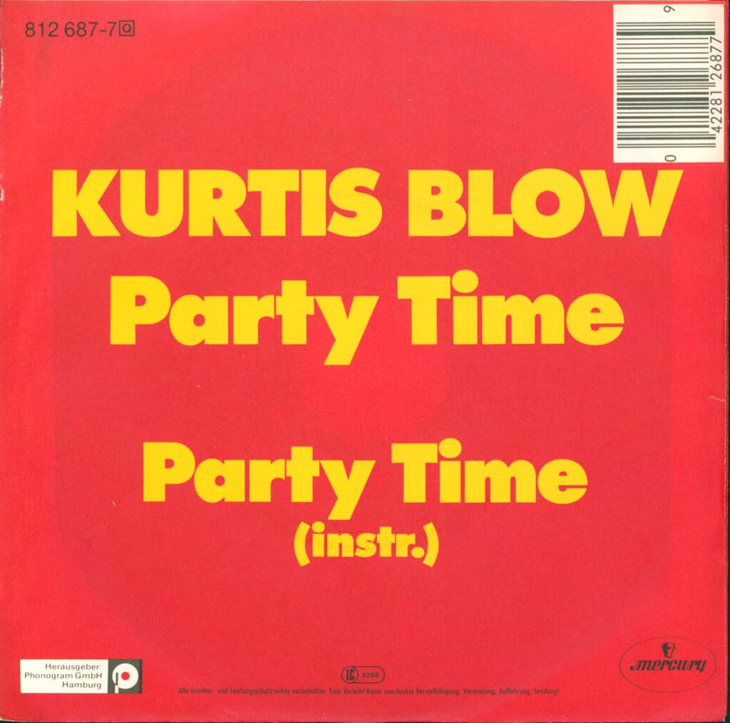 "Kurtis Blow: Party Time, 7"" Single (Vinyl)"