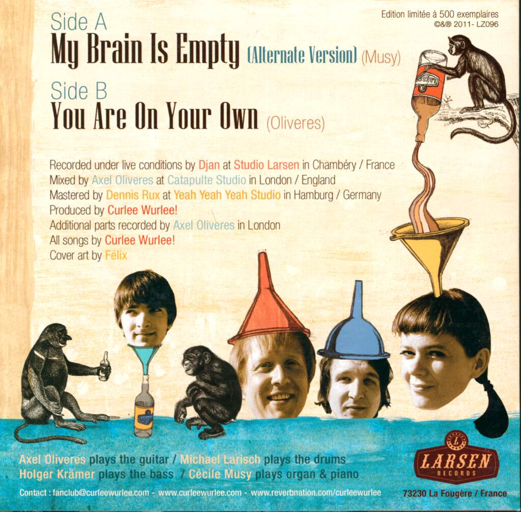 "Curlee Wurlee: My Brain Is Empty / You Are On Your Own, 7"" Single (Vinyl)"