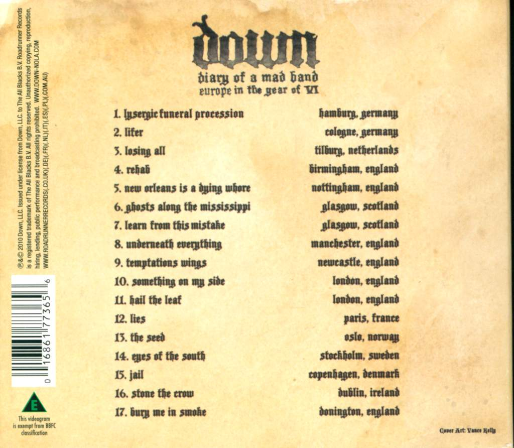 Down: Diary Of A Mad Band: Europe In The Year Of VI, 2×CD