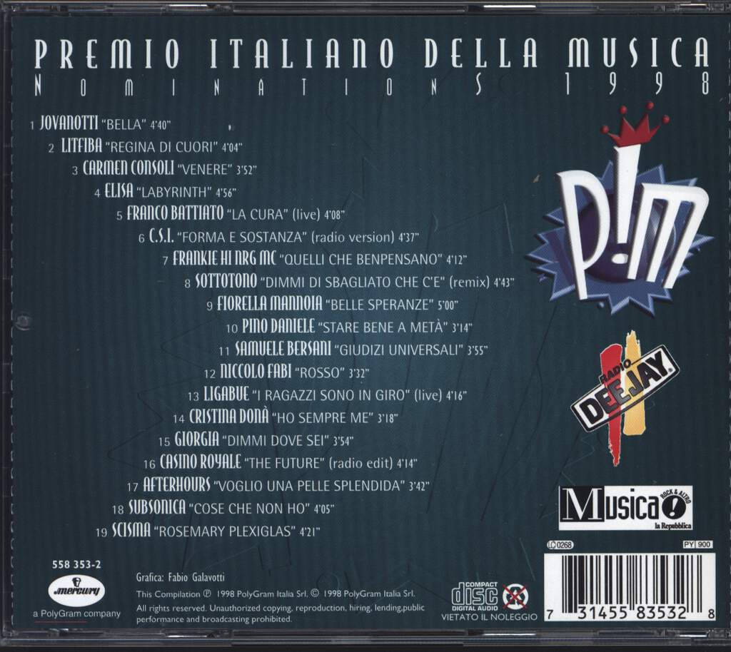 Various: Premio Italiano Della Musica - Nominations 1998, CD