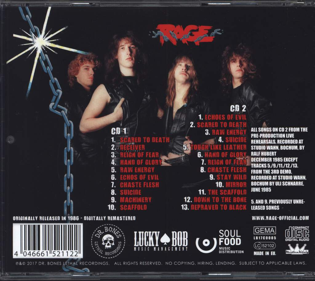 Rage: Reign Of Fear, CD
