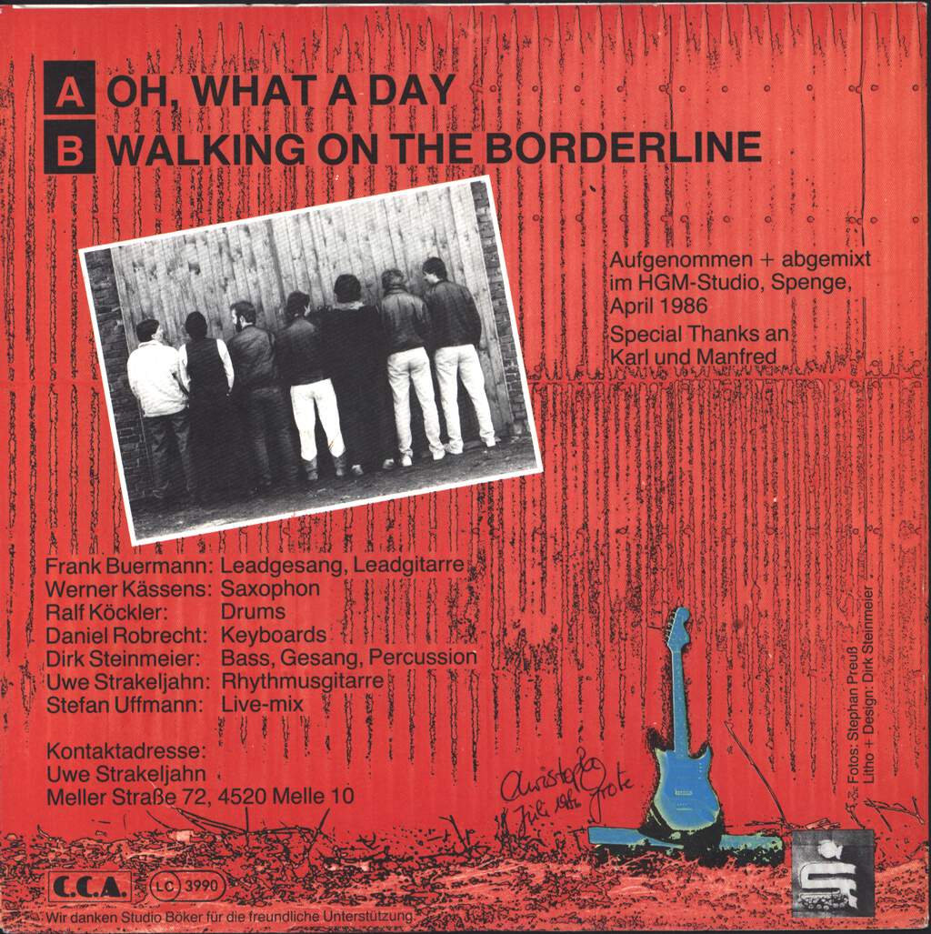 """Cadillac: Oh, What A Day / Walking On The Borderline, 7"""" Single (Vinyl)"""