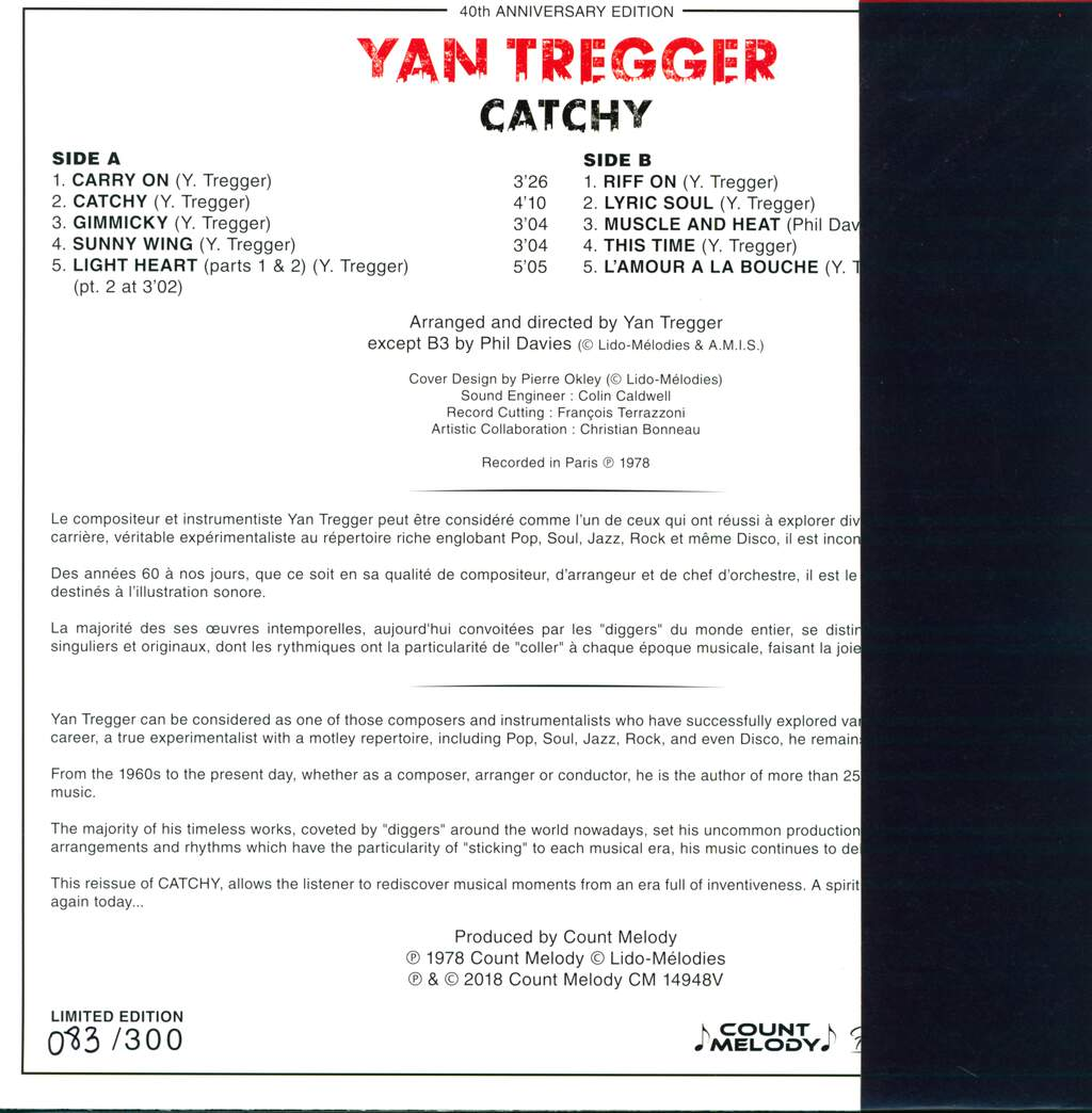 Yan Tregger: Catchy (40th Anniversary Edition), LP (Vinyl)
