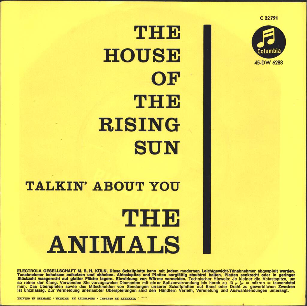 "The Animals: The House Of The Rising Sun / Talkin' About You, 7"" Single (Vinyl)"