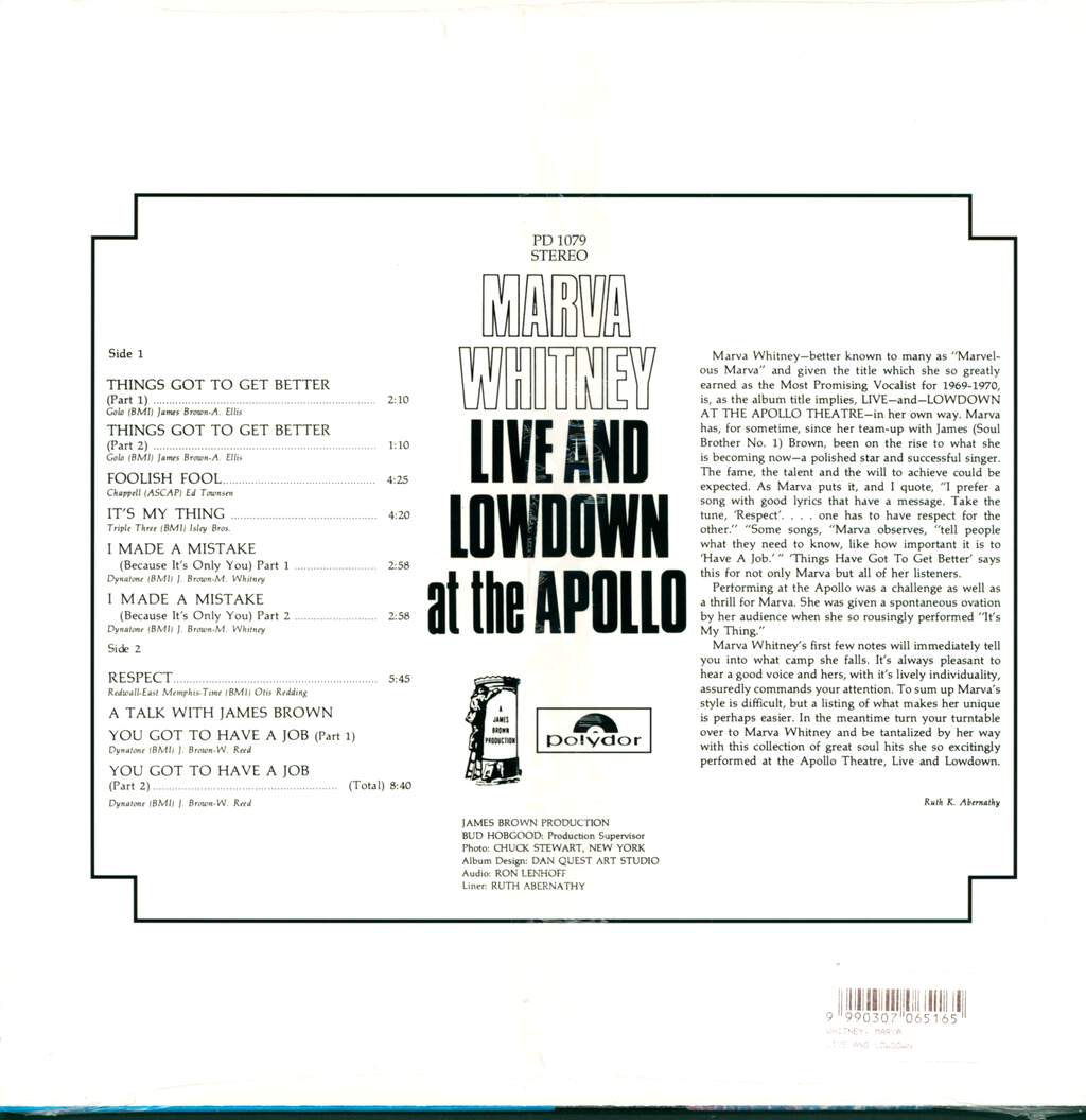 Marva Whitney: Live & Lowdown At The Apollo, LP (Vinyl)