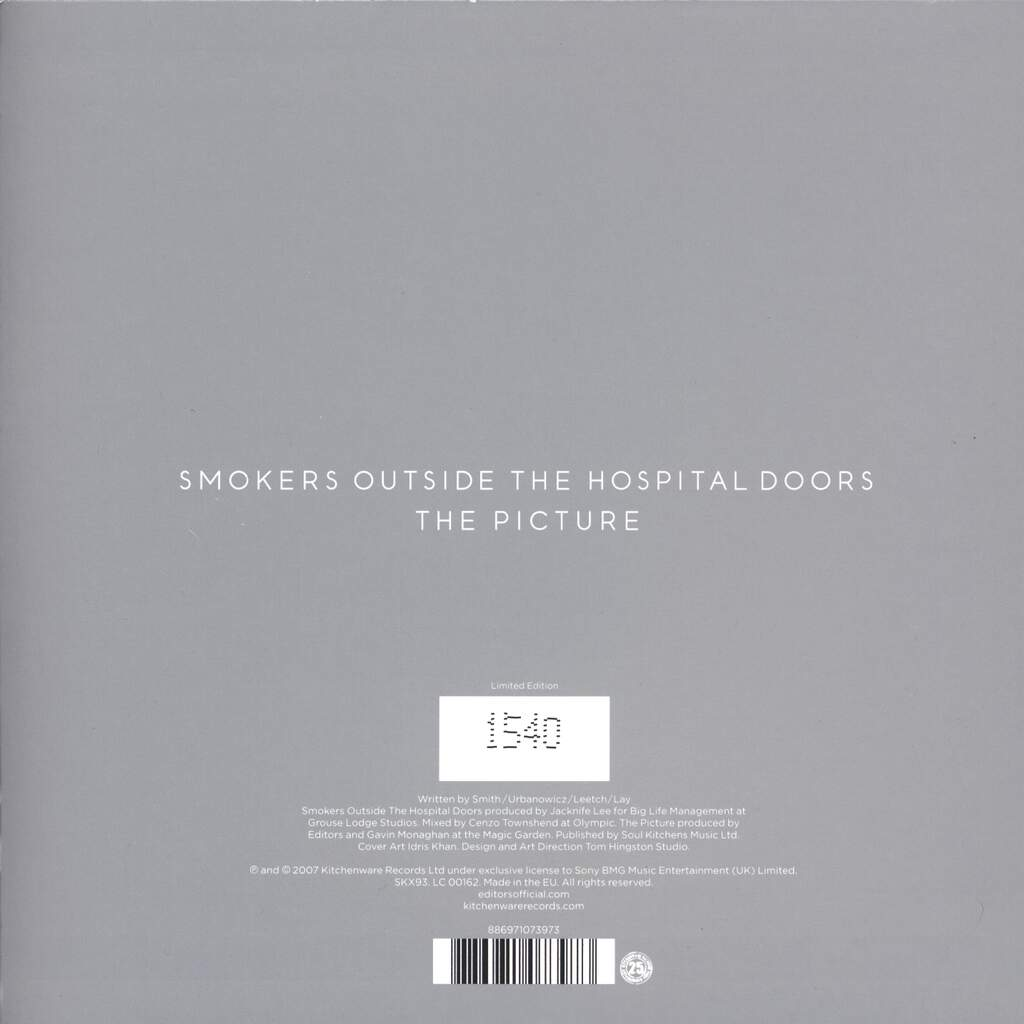 "Editors: Smokers Outside The Hospital Doors, 7"" Single (Vinyl)"