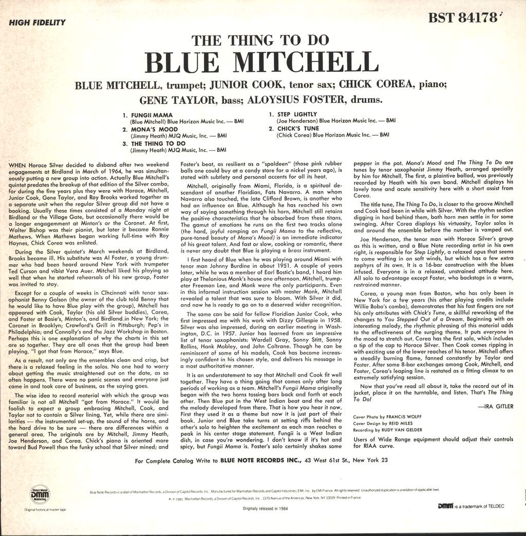 Blue Mitchell: The Thing To Do, LP (Vinyl)