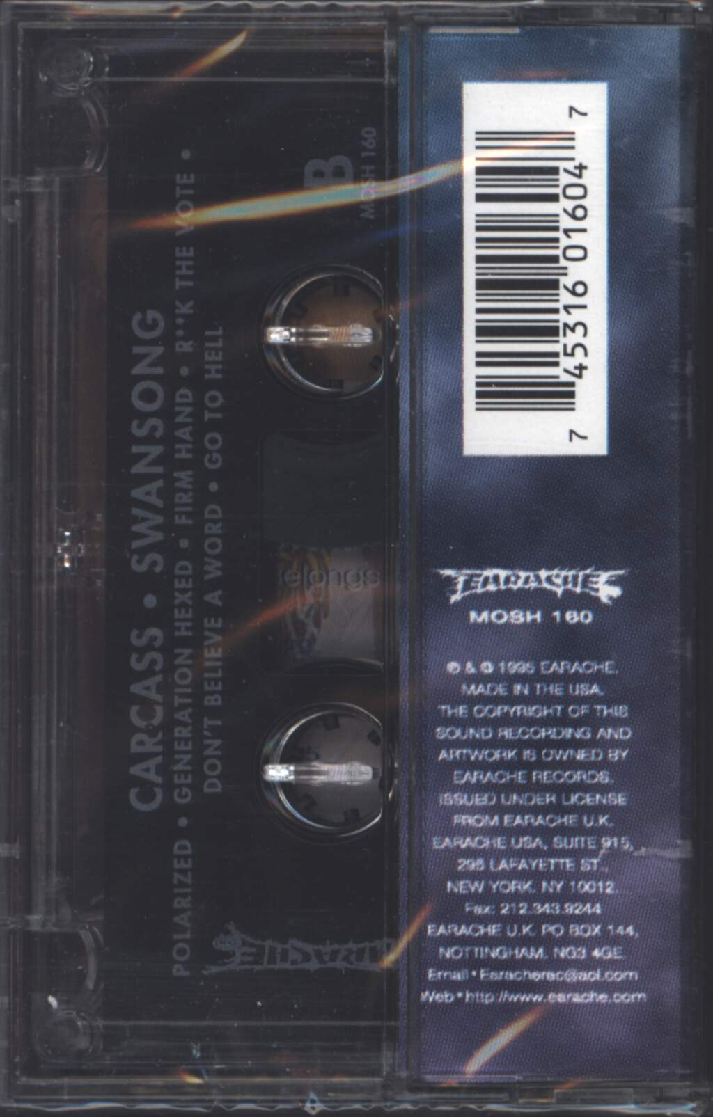 Carcass: Swansong, Tape