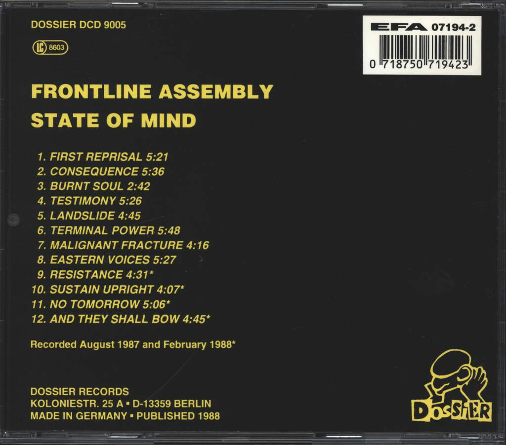 Front Line Assembly: State Of Mind, CD