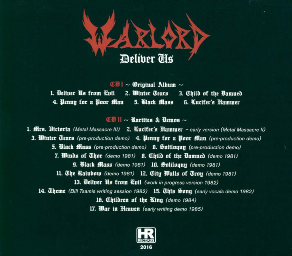Warlord: Deliver Us, 2×CD