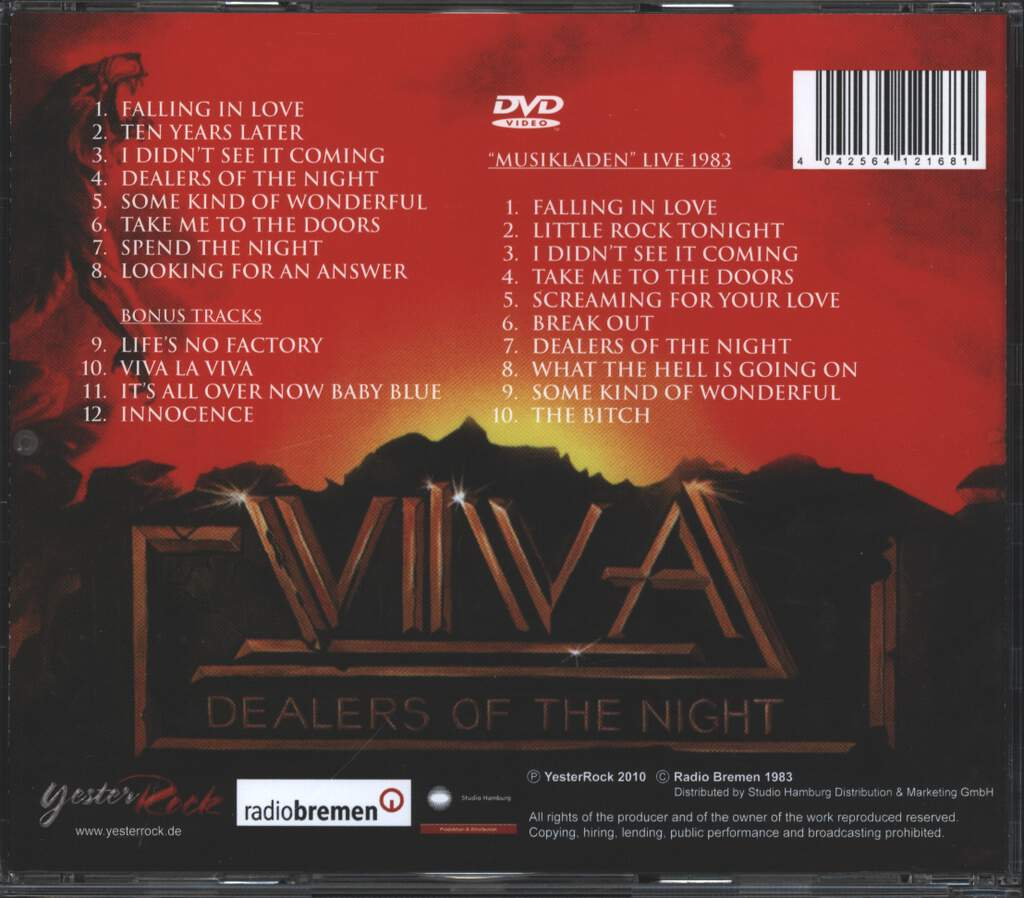 Viva: Dealers Of The Night, CD