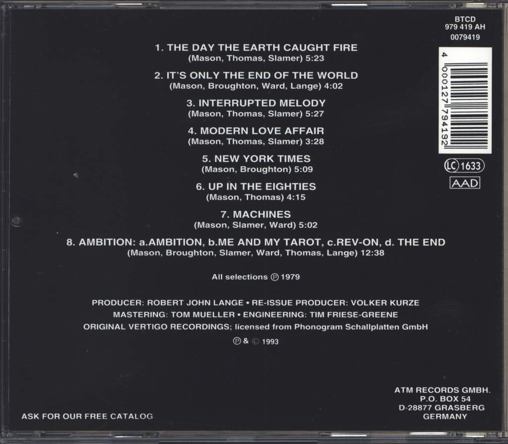 City Boy: The Day The Earth Caught Fire, CD