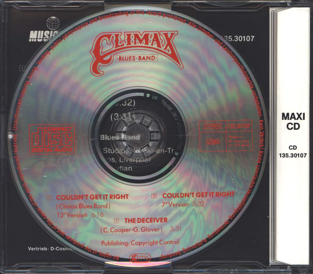 Climax Blues Band: Couldn't Get It Right (88), Mini CD