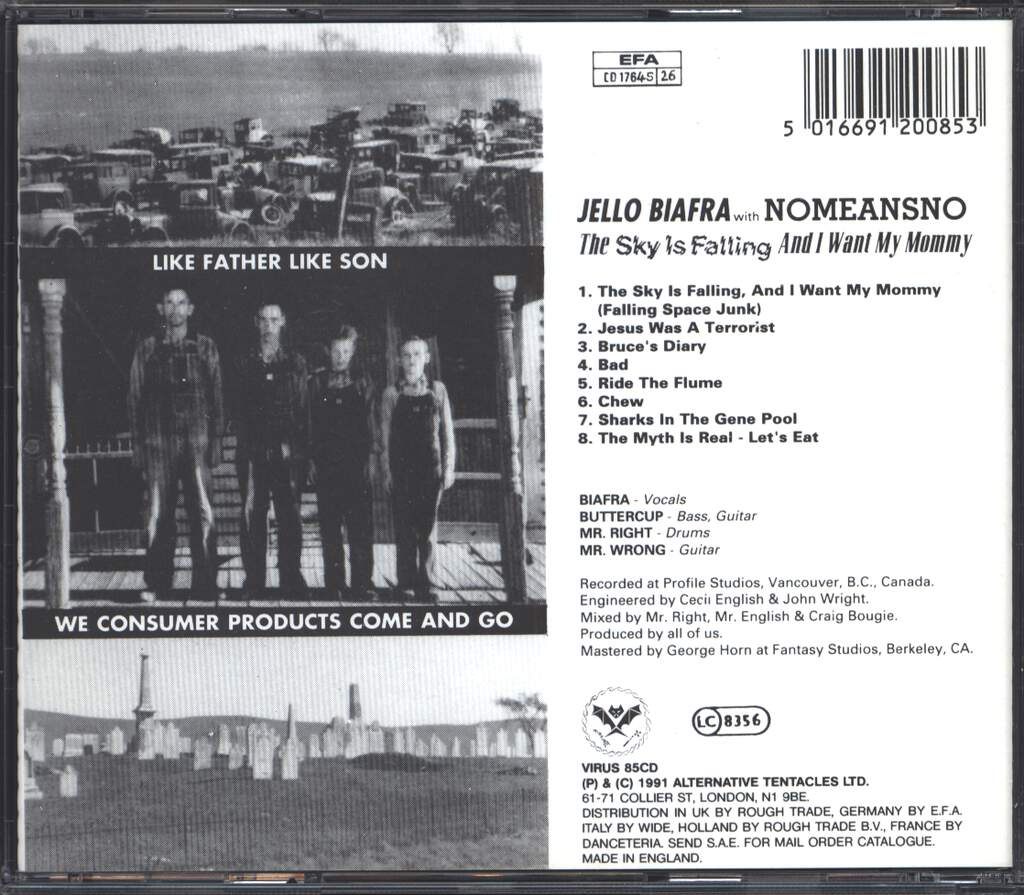 Jello Biafra: The Sky Is Falling And I Want My Mommy, CD