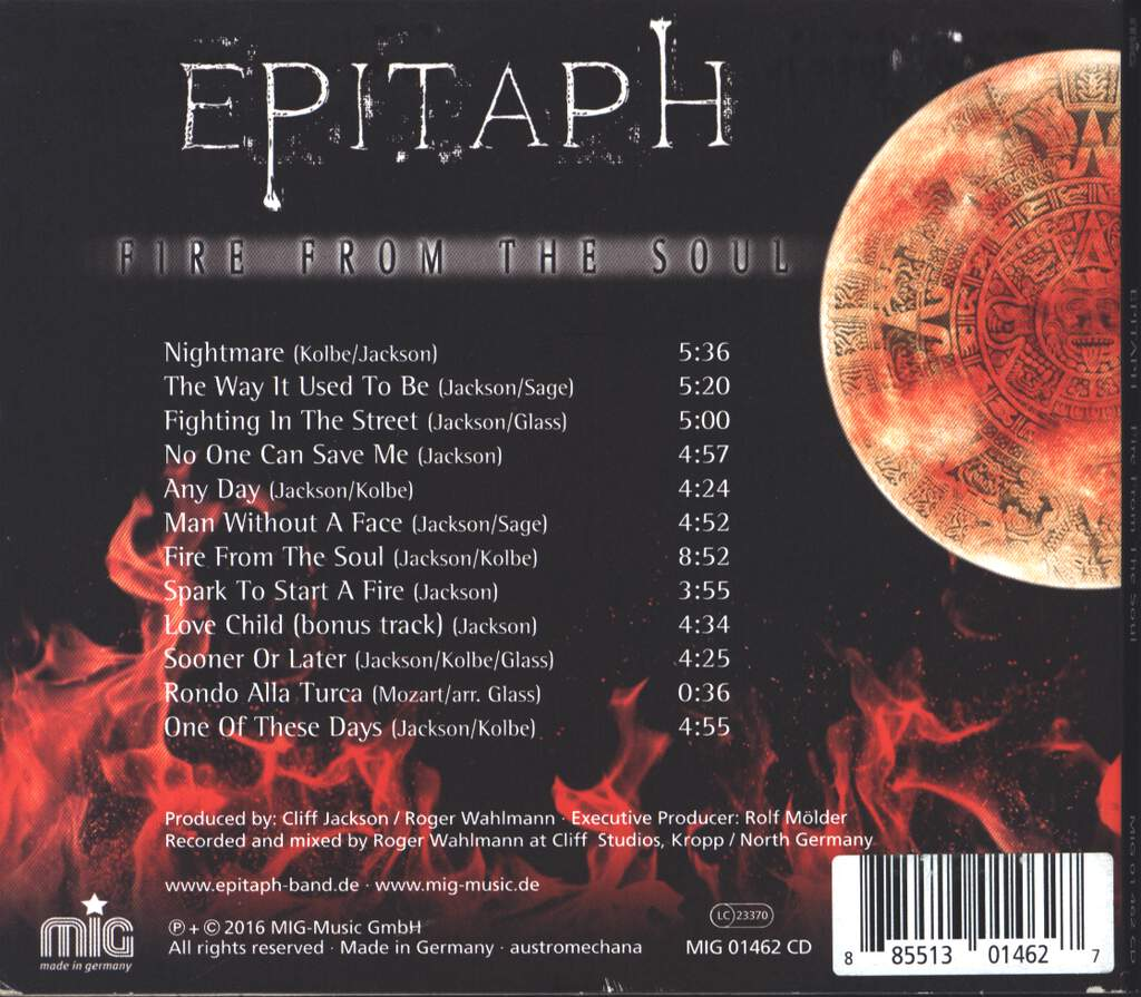 Epitaph: Fire From The Soul, CD