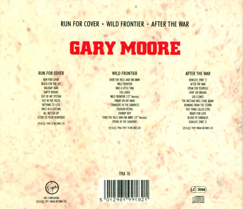 Gary Moore: Run For Cover / Wild Frontier / After The War, 3×CD