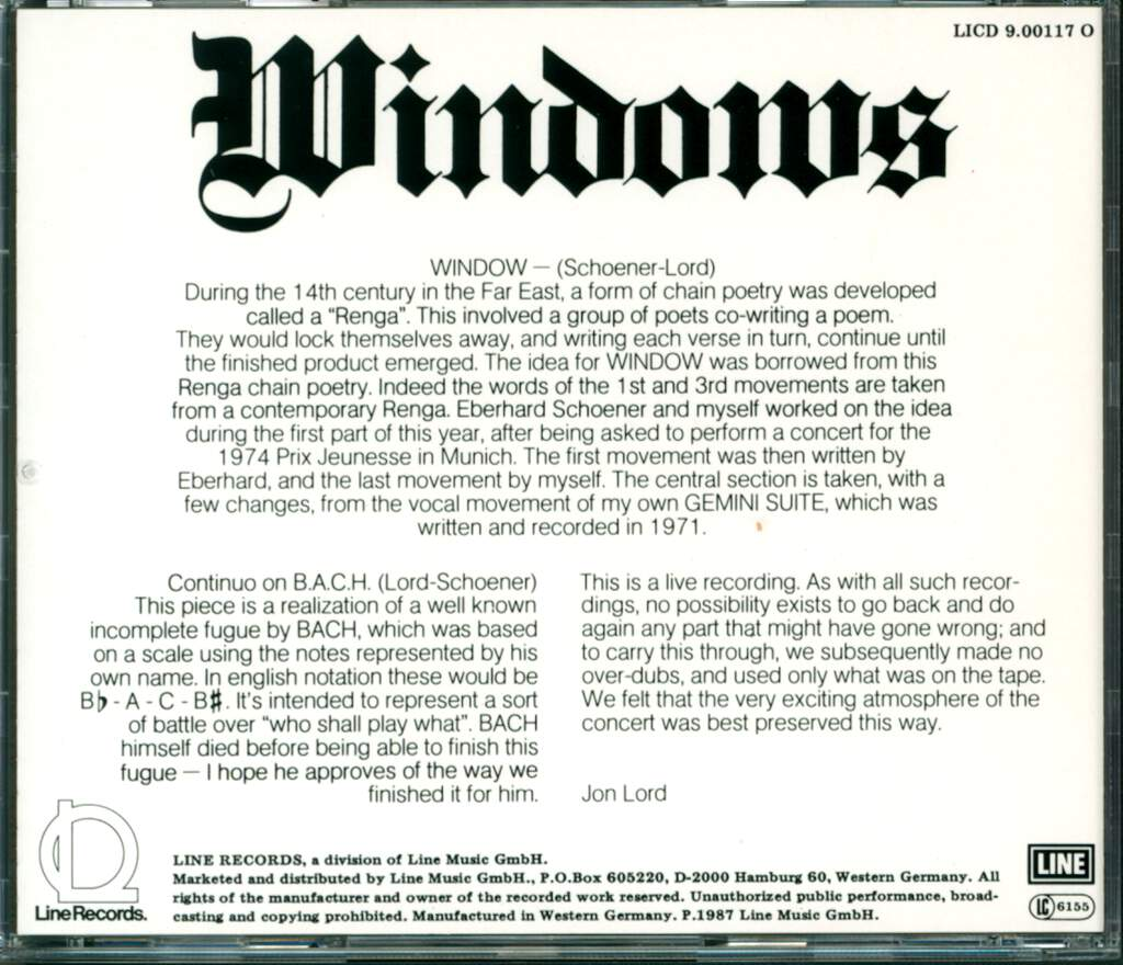 Jon Lord: Windows, CD