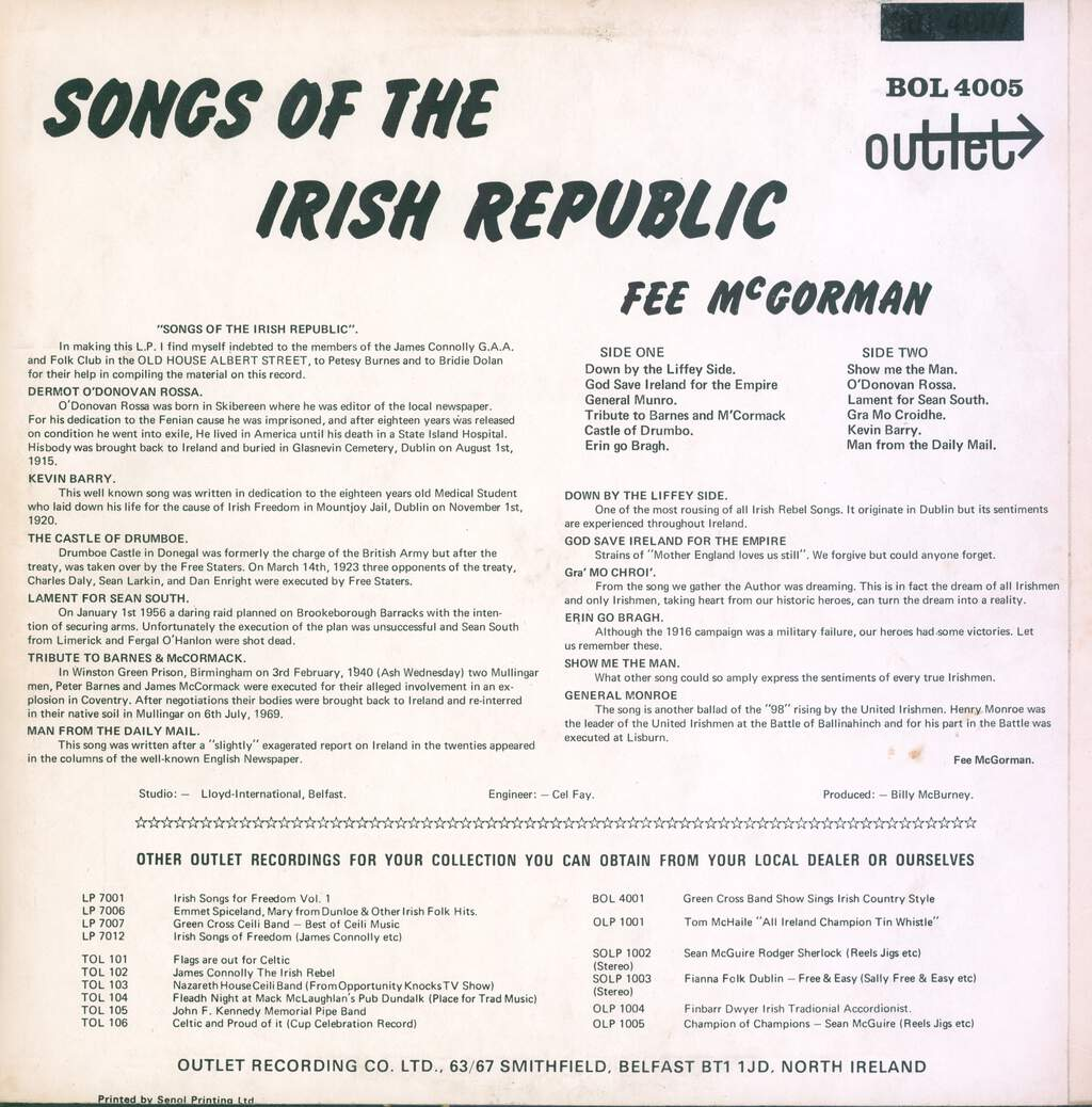 Fee McGorman: Songs Of The Irish Republic, LP (Vinyl)